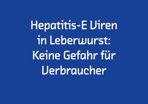 Stellungname zu Hepatitis-E Viren in Leberwurst: